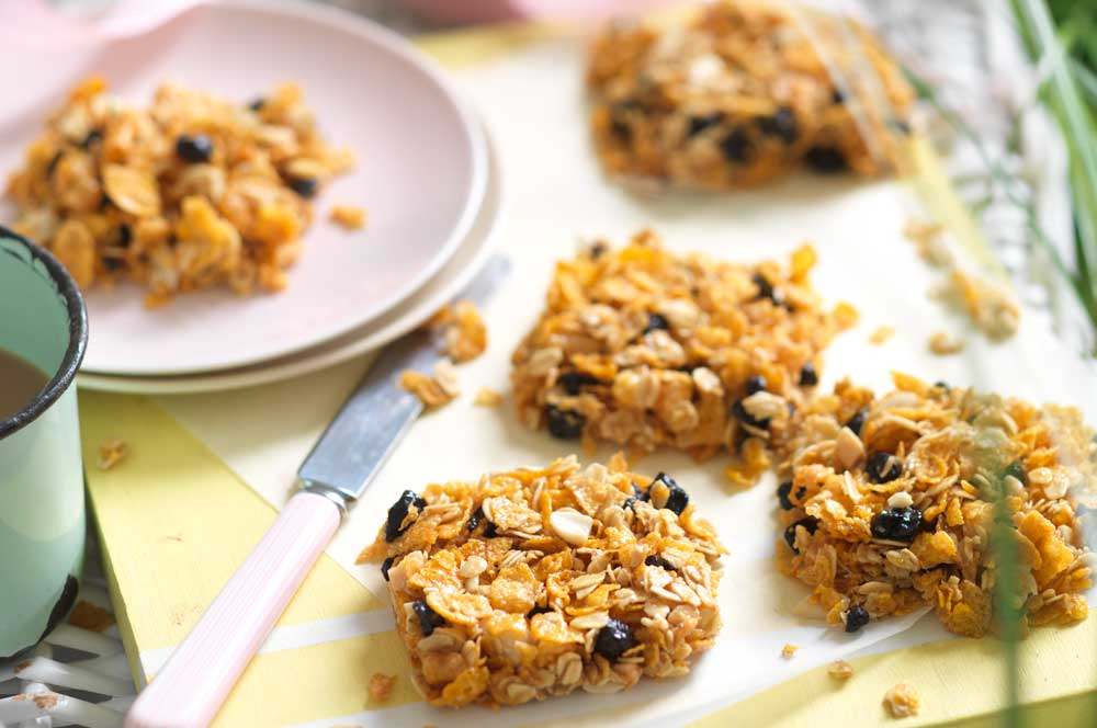 Peanut Butter Blueberry Snack Squares