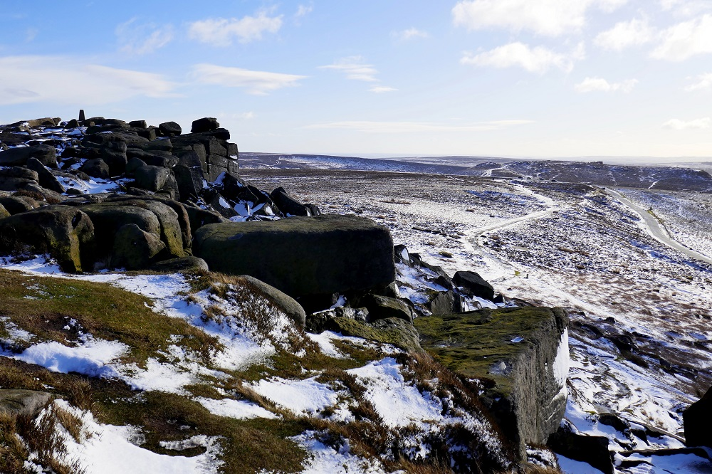 winter walk stanage edge