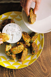 Ruby Tandoh's carrot and feta bites with lime yogurt