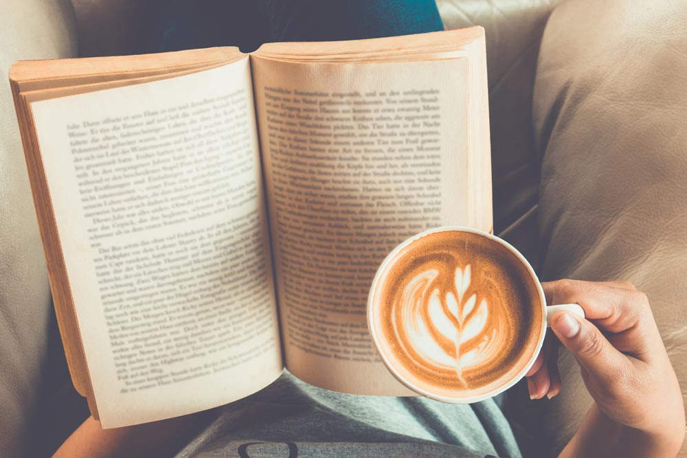 Book and coffee wellbeing