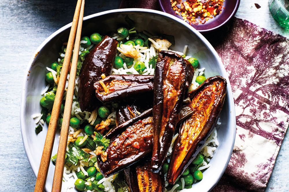 Weight Watchers soy roasted aubergines with fragrant rice