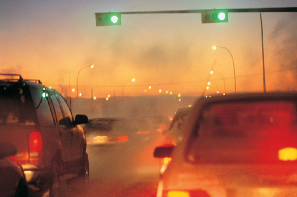 cars on a polluted road
