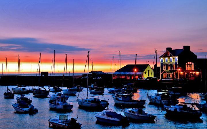 Aberaeron Harbour at sunset