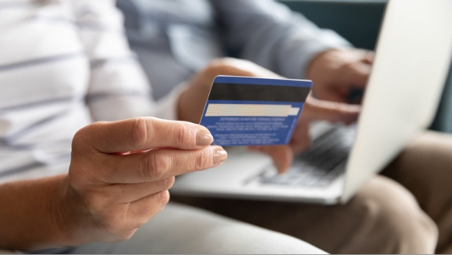 Person using a credit card