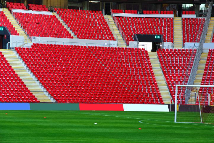 A football stadium with empty seats