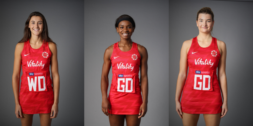 Three Vitality Roses netball players standing in their kits