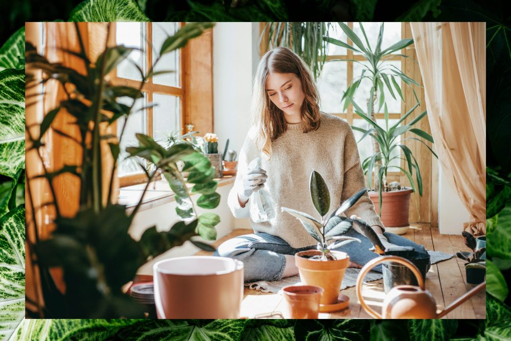 Woman tending to her houseplants