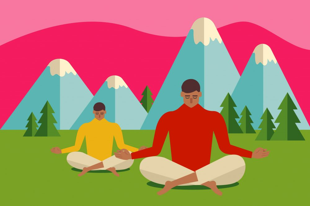 Cartoon of two people relaxing by mountains
