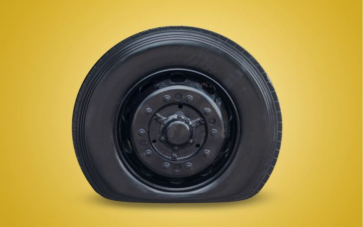 Image of a flat tyre