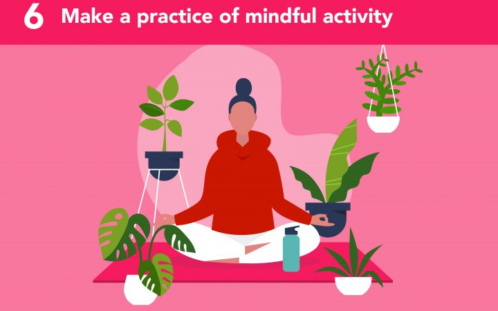 Illustration of woman practicing mindful activity for self-care