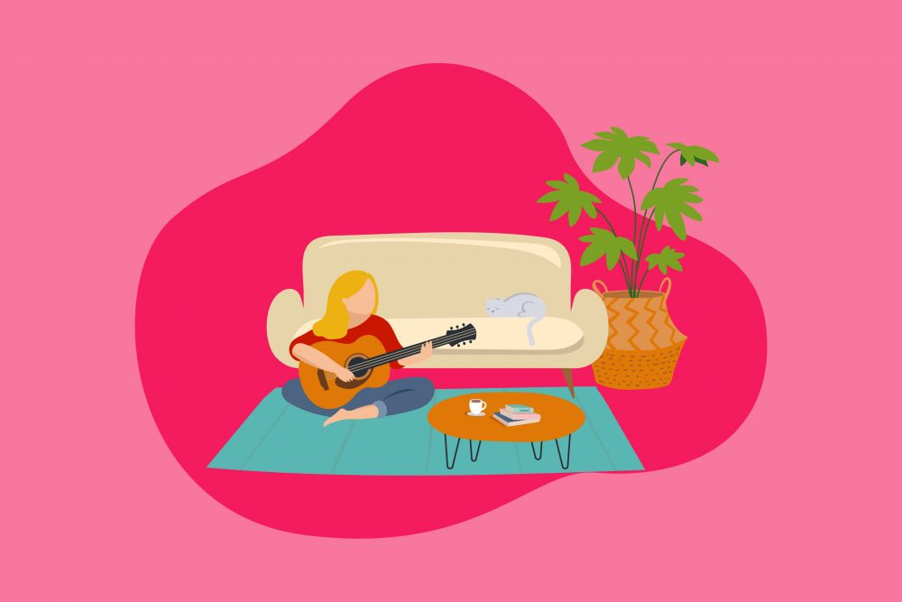 Illustration of woman practicing self care by playing guitar