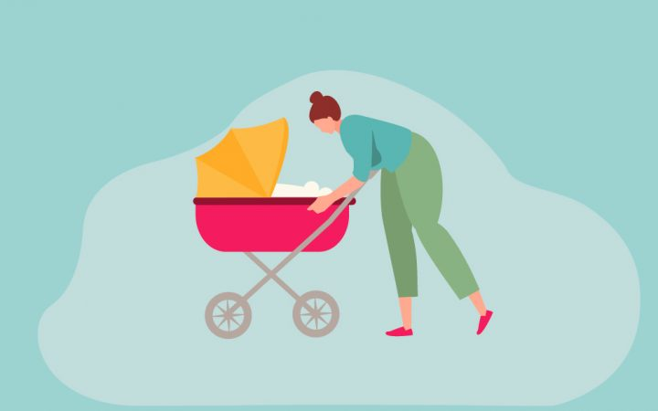 Cartoon of a lady with a pram mental health article