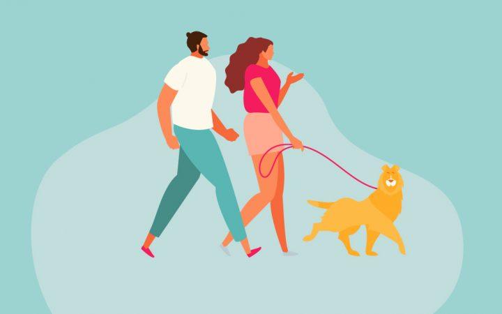 Cartoon of a couple with a dog