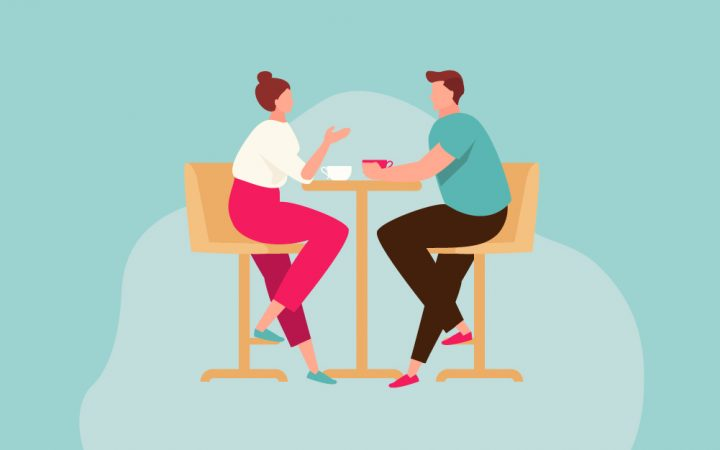 Cartoon of a couple sitting at a table