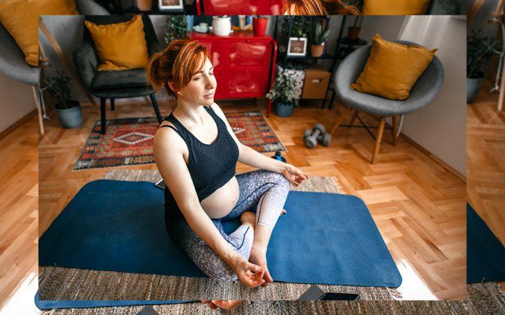 Woman sitting doing yoga