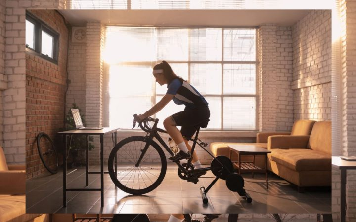 woman exercising on bike