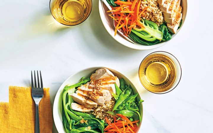 Chicken pak choi bowls with miso dressing
