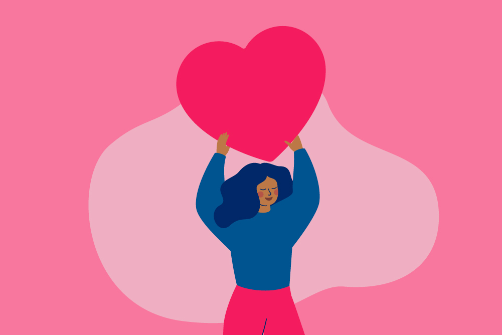 graphic of woman holding heart
