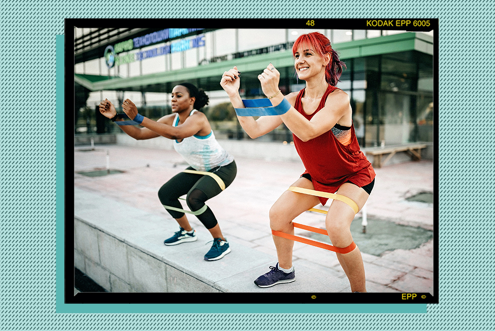 Two women doing a fitness activity