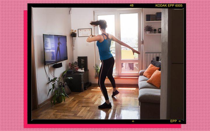 Woman doing an online home workout