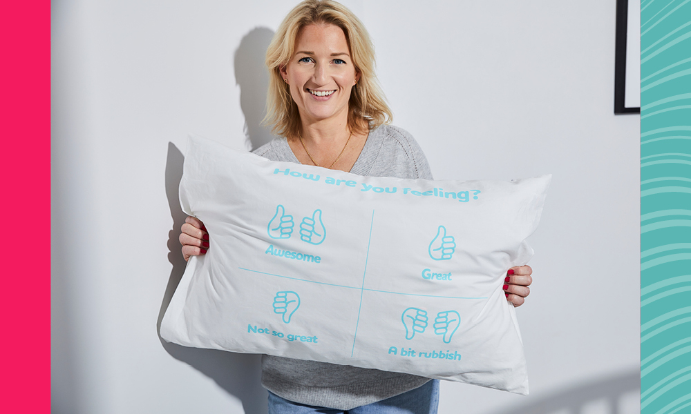 Woman holding a pillow
