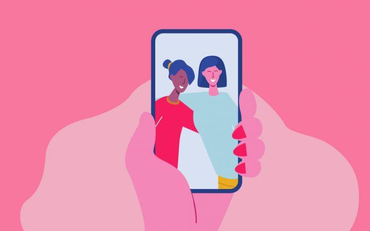 Cartoon of a phone photo of friends
