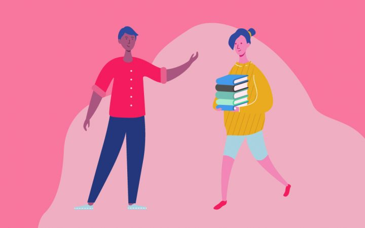Cartoon of man waving at a woman carrying books