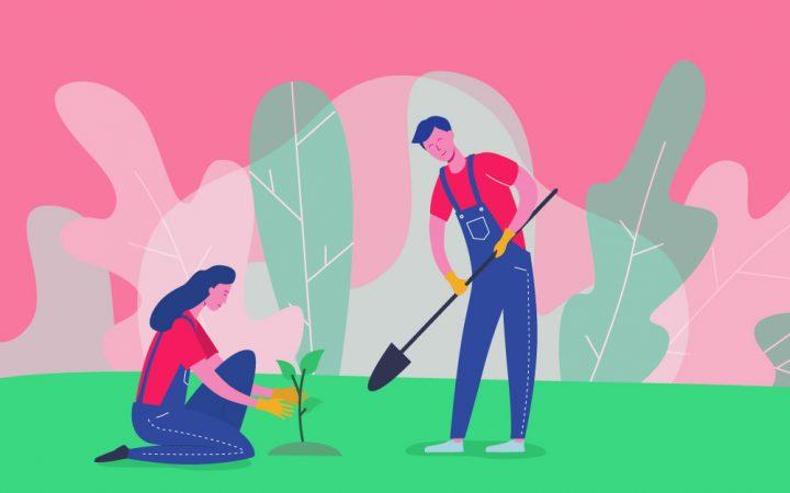 Cartoon of people gardening