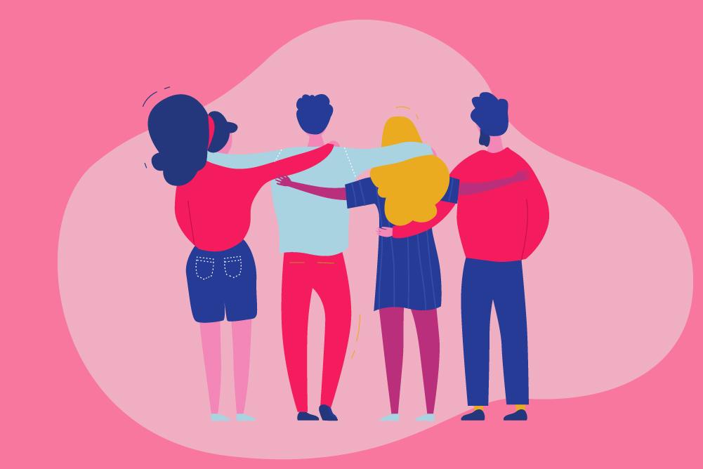 Cartoon of friends arm in arm