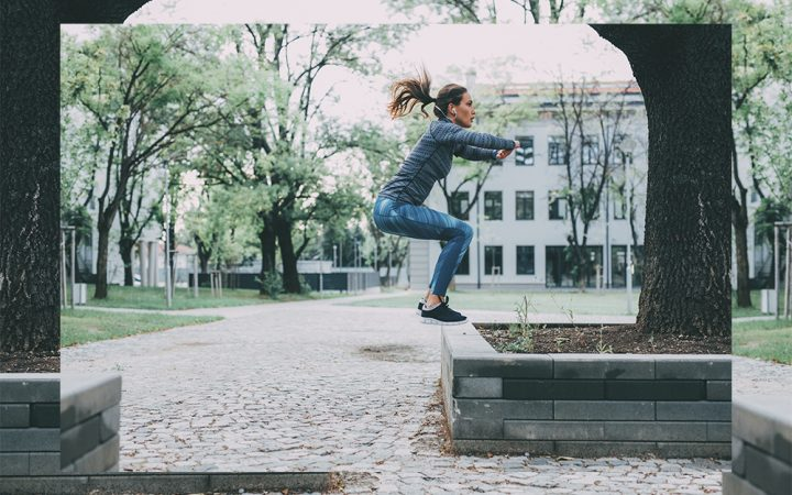 Woman doing jumping exercises
