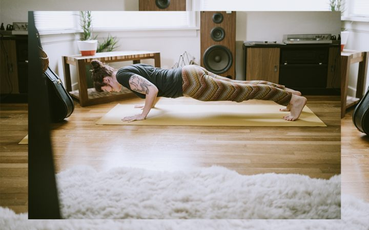 Woman exercising in a living room