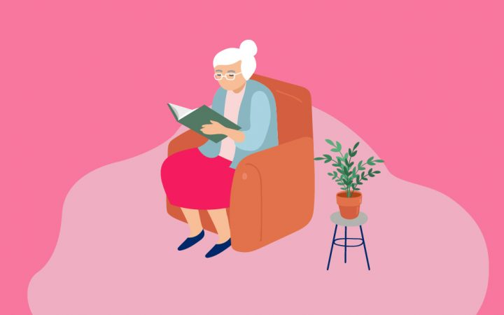 Illustration of elderly lady sitting reading a book