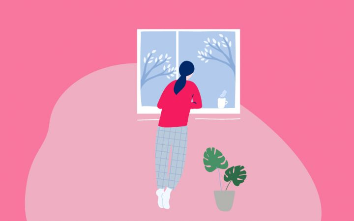 Illustration of woman looking out of window