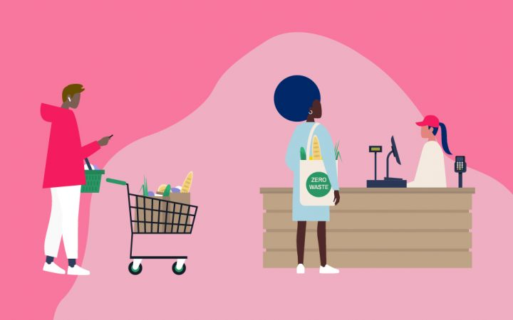 Illustration of people at supermarket checkout