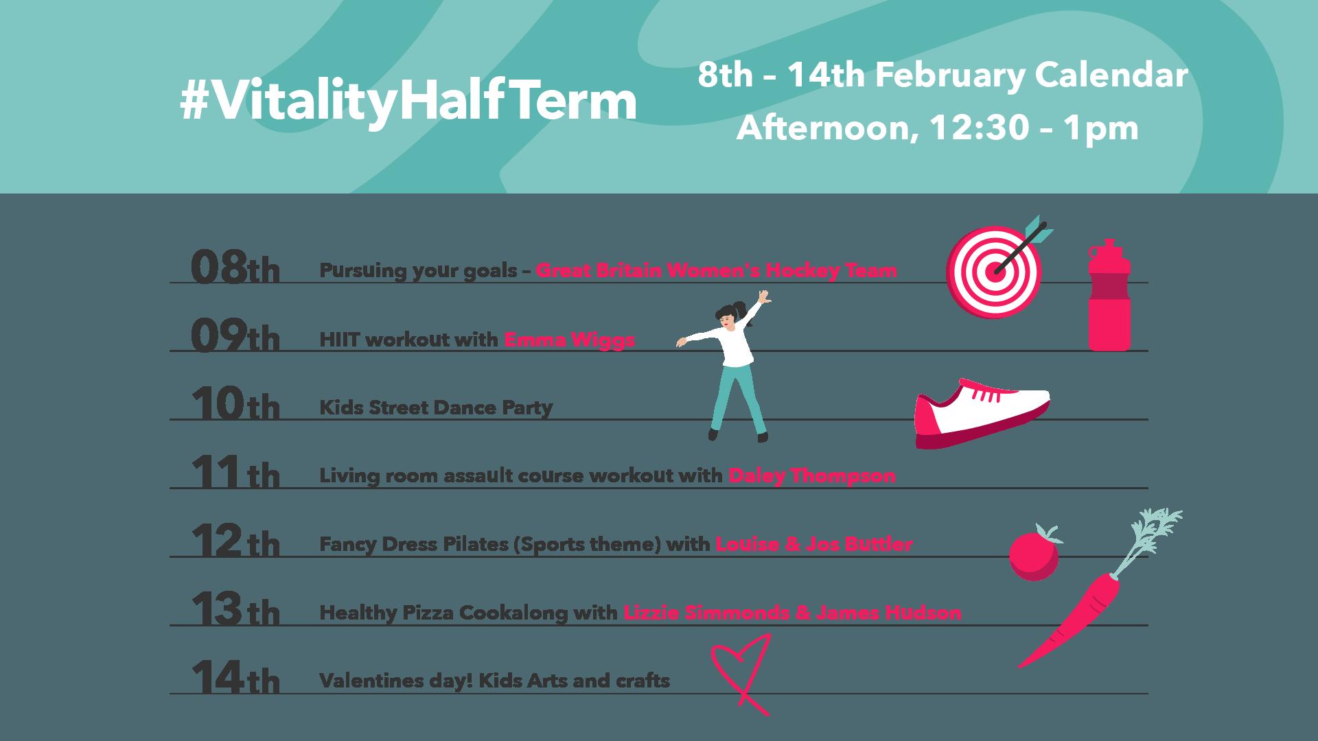 Vitality Half Term Calendar of Events Week 1