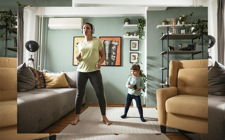 Mum and kid dancing