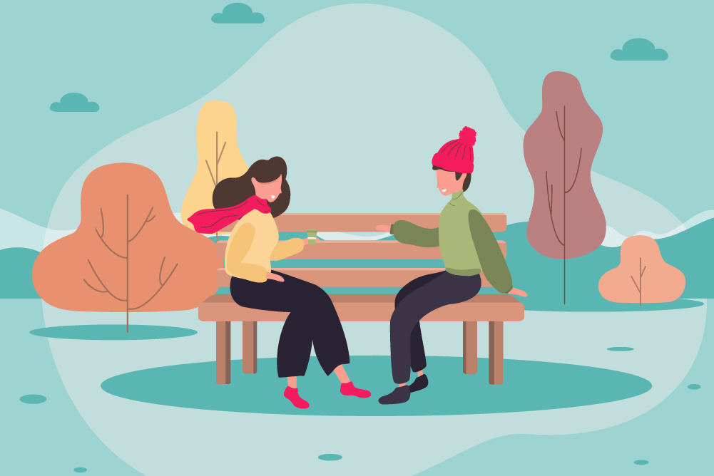 Illustration of two people sitting on a bench talking
