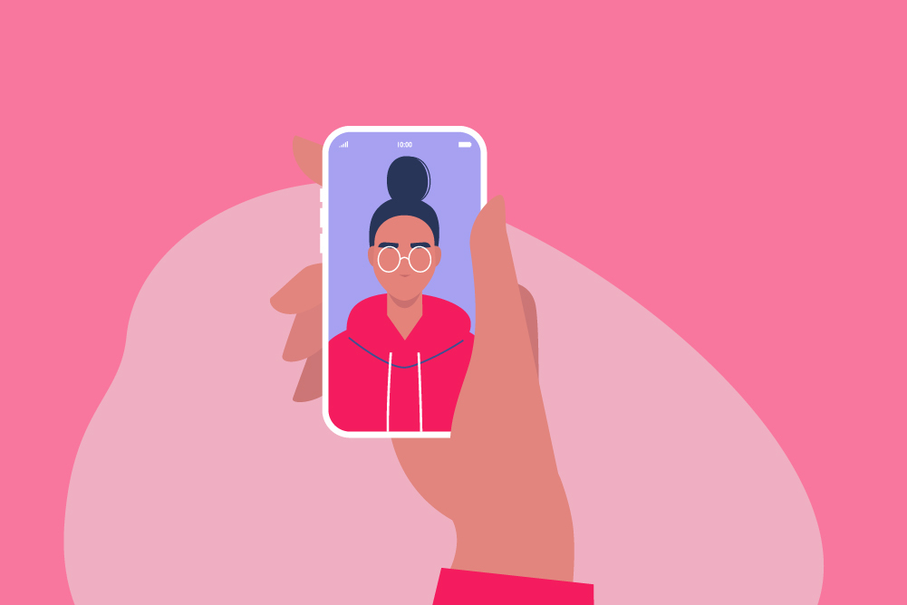 Illustration of a woman video calling a friend