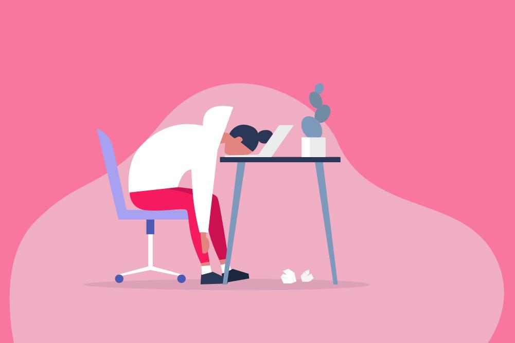 Illustration of woman slumped at desk