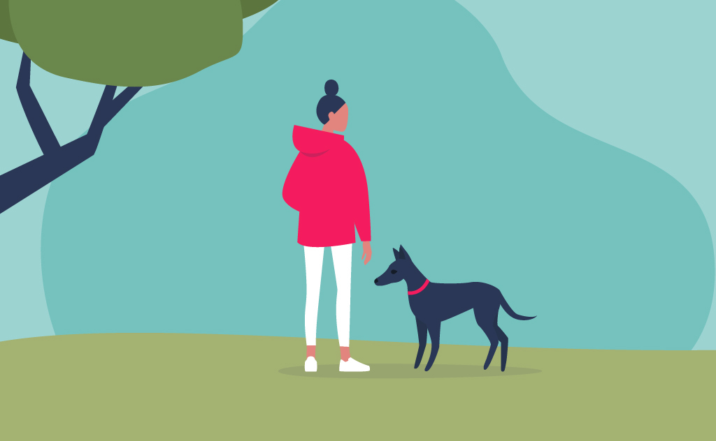 Illustration of someone walking their dog in the park