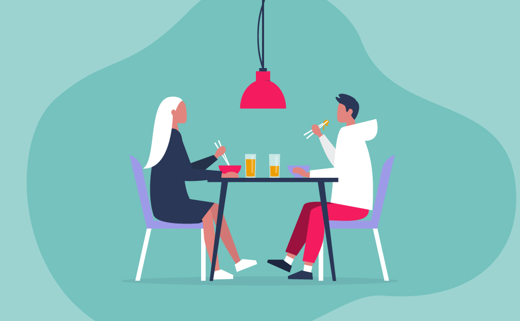 Illustration of a couple eating together at a table