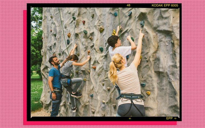 People rock climbing fitness outdoors