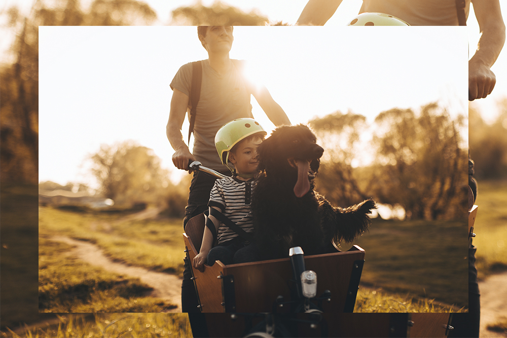 Man cycling with his child