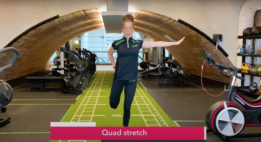 Cool down stretch with personal trainer Nuffield Health