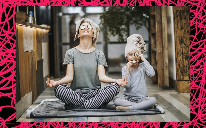 woman and child relaxing at home practicing self care and meditation