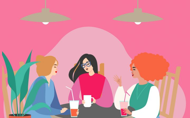 Three women illustration eating in a restuarant