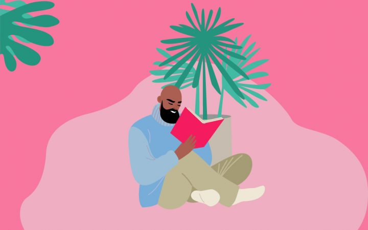 Illustration of a man at home reading a book and coping with the new normal