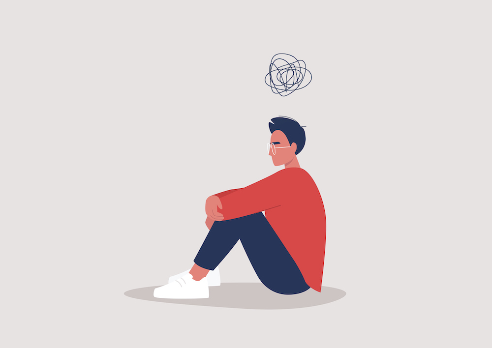 Young person battling with mental health