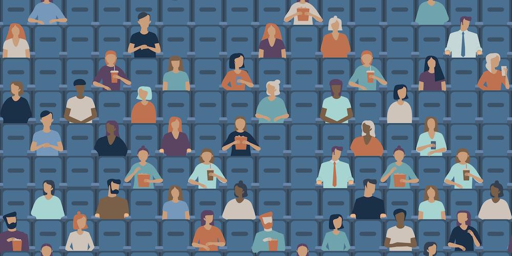 Illustration of people sitting inside a cinema