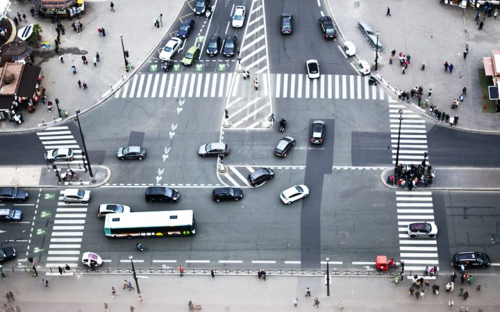 Lots of traffic from aerial view of road - good driver